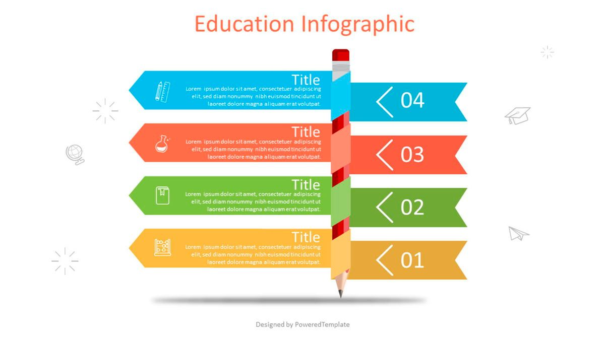 Pencil with Four Options Infographic, 07025, Education Charts and Diagrams — PoweredTemplate.com