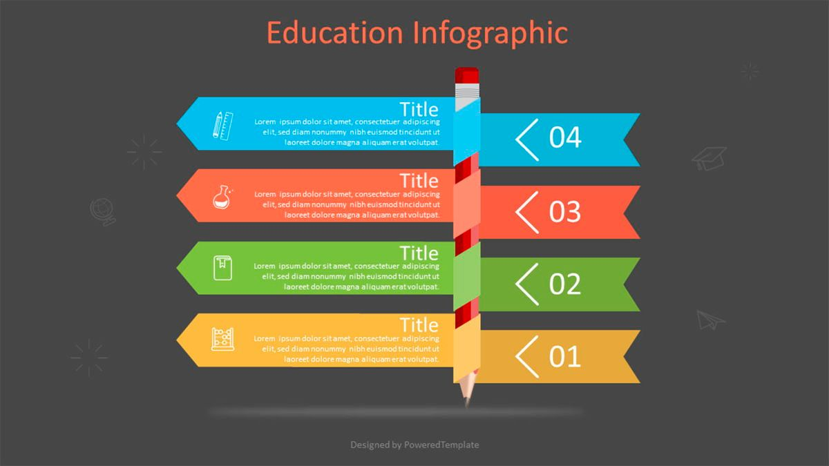Pencil with Four Options Infographic, Slide 2, 07025, Education Charts and Diagrams — PoweredTemplate.com