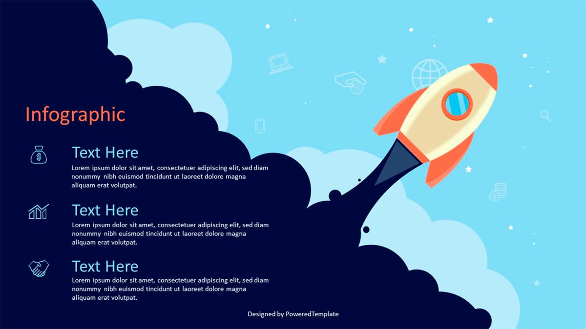 A Space Rocket Launch in Startup Concept, Slide 2, 07026, Infographics — PoweredTemplate.com