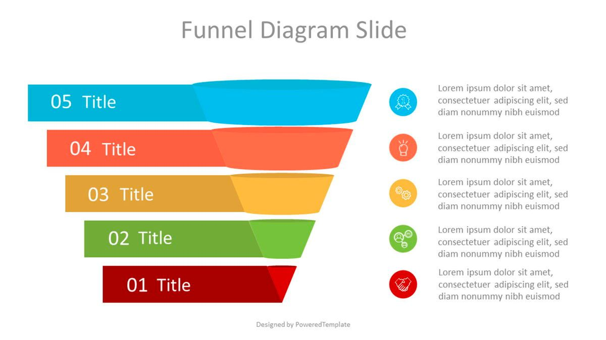 Sales Funnel Diagram with Options and Icons, 07032, Business Models — PoweredTemplate.com