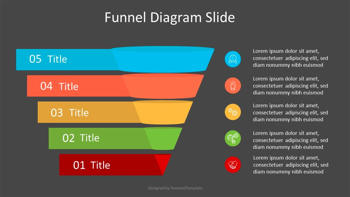 Sales Funnel Diagram with Options and Icons, Slide 2, 07032, Business Models — PoweredTemplate.com