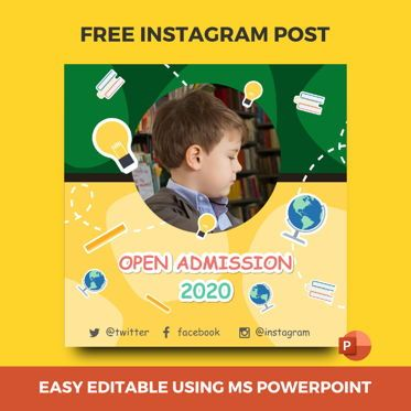 Education Charts and Diagrams: Free Instagram stories and posts powerpoint template - open admission 2020 collection #07034