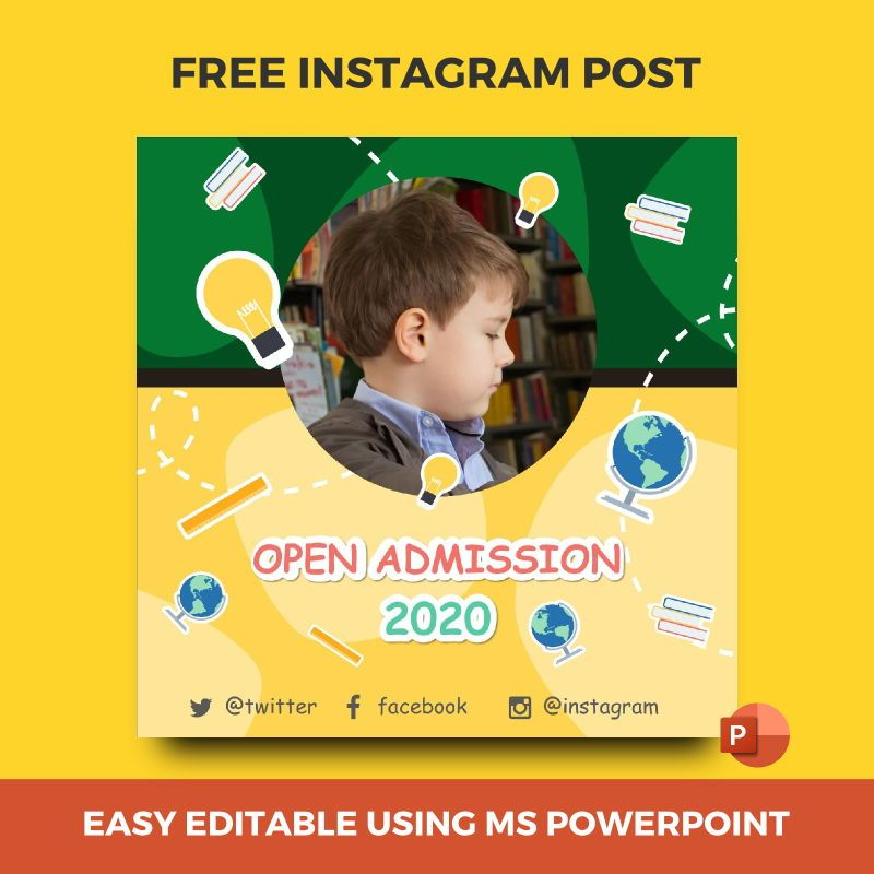 Free Instagram stories and posts powerpoint template - open admission 2020 collection, 07034, Education Charts and Diagrams — PoweredTemplate.com