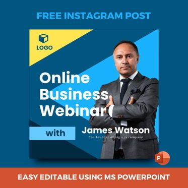 Business Models: Free Instagram stories and posts powerpoint template - webinar collections #07035