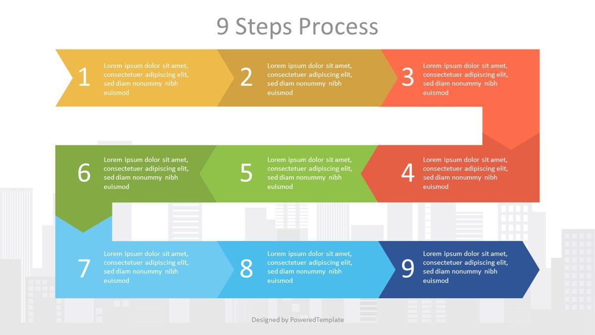 Zigzag Nine Step Process Diagram, 07058, Process Diagrams — PoweredTemplate.com