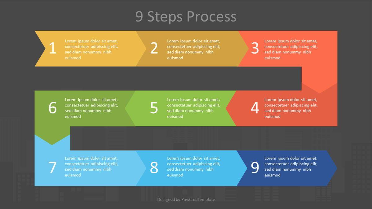 Zigzag Nine Step Process Diagram, Slide 2, 07058, Process Diagrams — PoweredTemplate.com