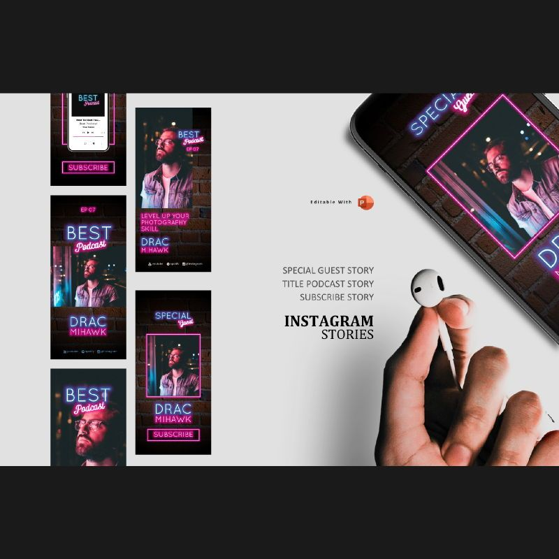 Podcast template neon style instagram stories and posts powerpoint template, 07062, Presentation Templates — PoweredTemplate.com