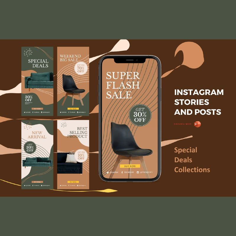 Instagram stories and posts powerpoint template - special deal collections, 07063, Presentation Templates — PoweredTemplate.com