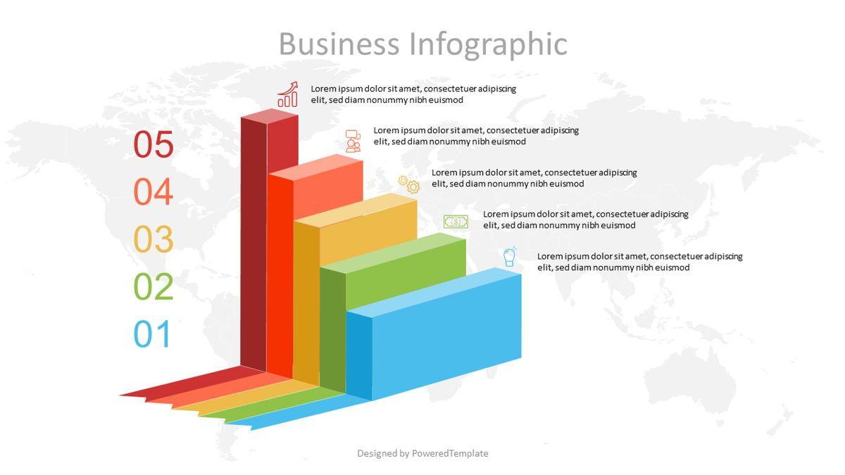 Business Stairs Infographics, 07085, Infographics — PoweredTemplate.com