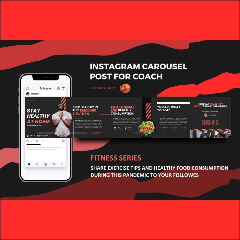 Body healthy coach - instagram carousel powerpoint template, 07086, Infographics — PoweredTemplate.com