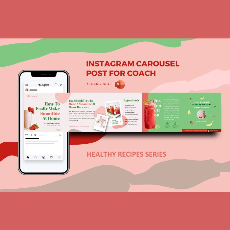Healthy recipe creator coach - instagram carousel powerpoint template, 07087, Presentation Templates — PoweredTemplate.com