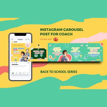 Presentation Templates: Back to school new normal instagram carousel powerpoint template #07088