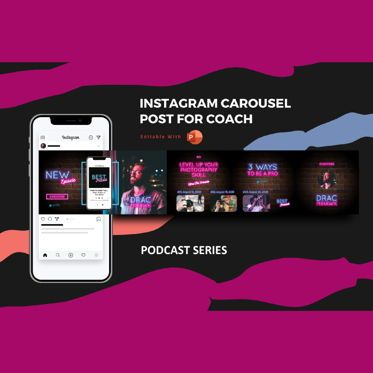 Presentation Templates: Podcast coach instagram carousel powerpoint template #07093