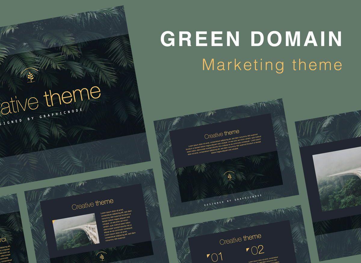 Green Domain Keynote Presentation Template, 07094, Presentation Templates — PoweredTemplate.com