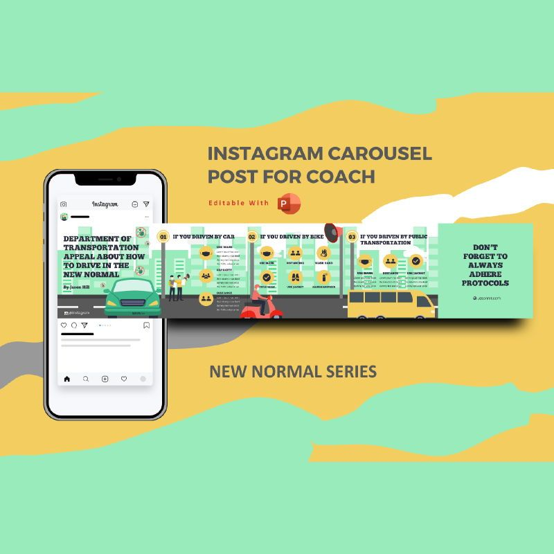 How to drive in the new normal instagram carousel powerpoint template, 07099, Presentation Templates — PoweredTemplate.com