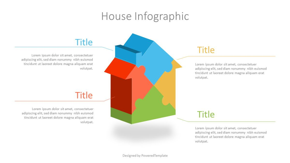 Puzzle House Four Piece Volumetric Infographic, 07109, Infographics — PoweredTemplate.com