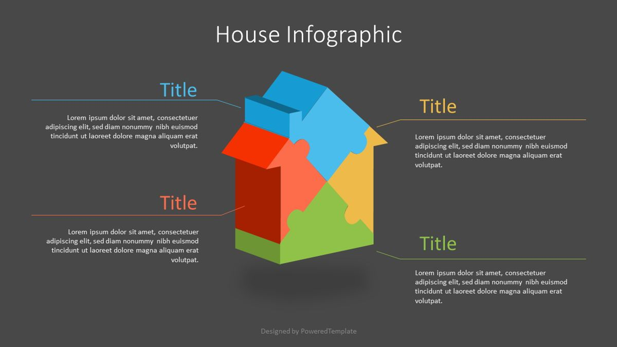 Puzzle House Four Piece Volumetric Infographic, Slide 2, 07109, Infographics — PoweredTemplate.com