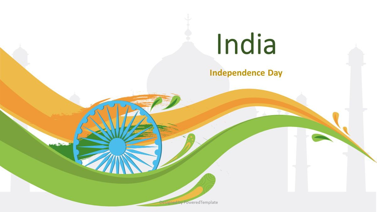 Indian Independence Day Cover Slide, 07116, Presentation Templates — PoweredTemplate.com
