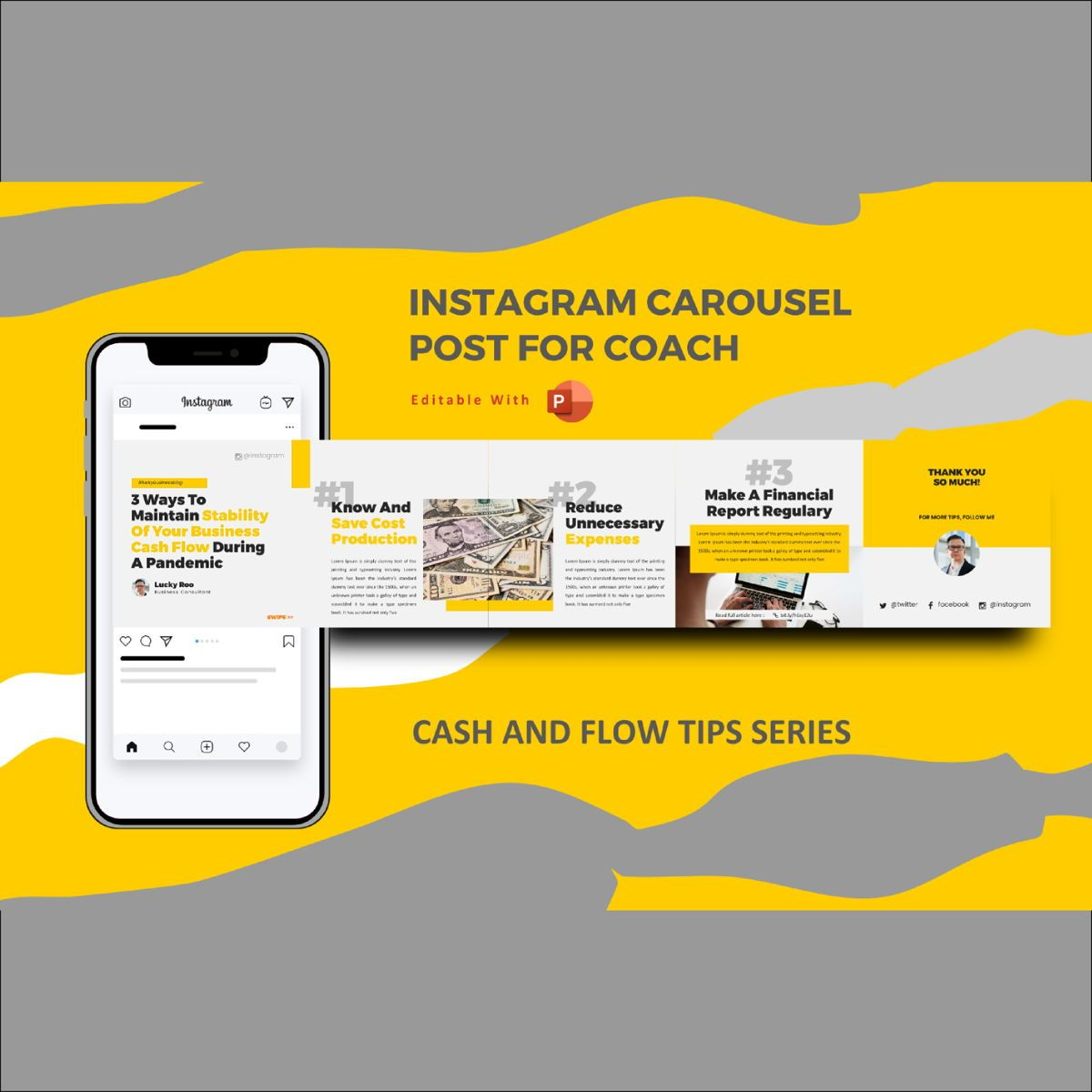 Money Management During Pandemic Tips Instagram Carousel Powerpoint Template Presentation Template 75767