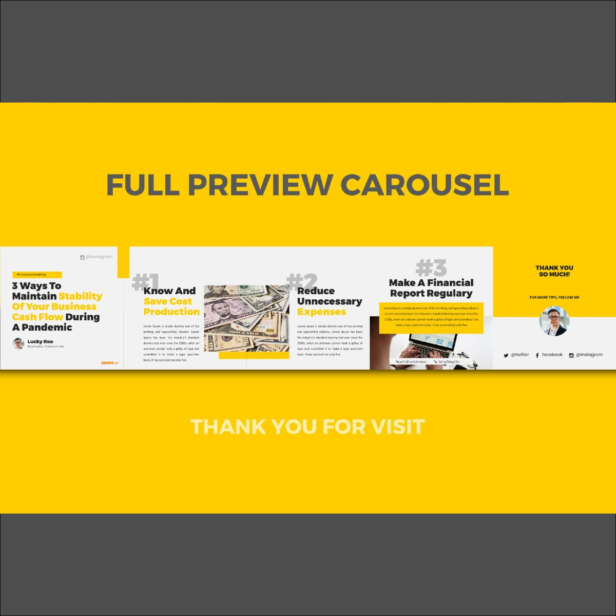 Money management during pandemic tips instagram carousel powerpoint template, Slide 3, 07119, Business Models — PoweredTemplate.com