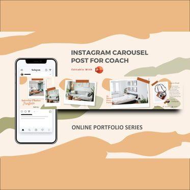 Presentation Templates: Mini online interior photography portfolio instagram carousel powerpoint template #07120