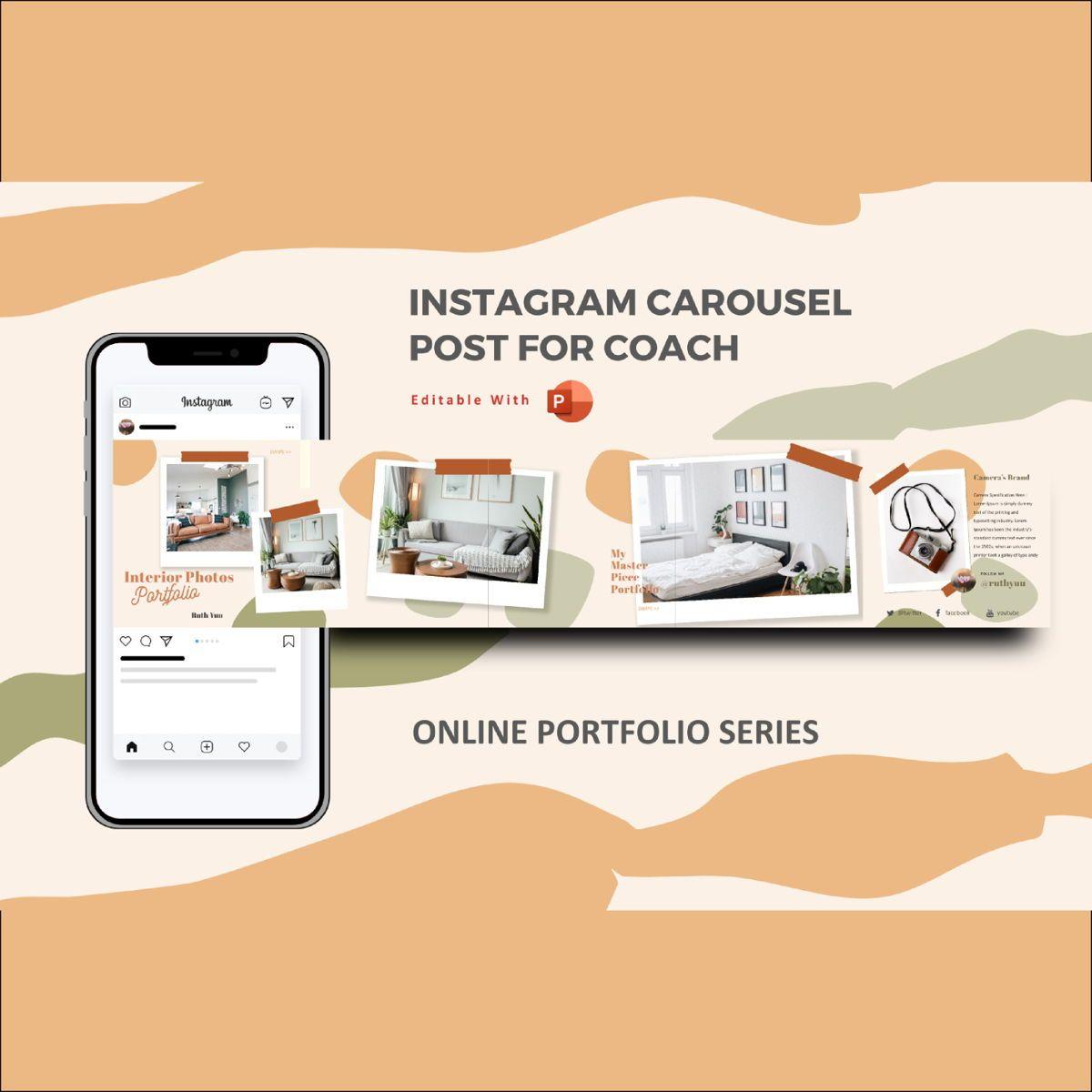 Mini online interior photography portfolio instagram carousel powerpoint template, 07120, Presentation Templates — PoweredTemplate.com