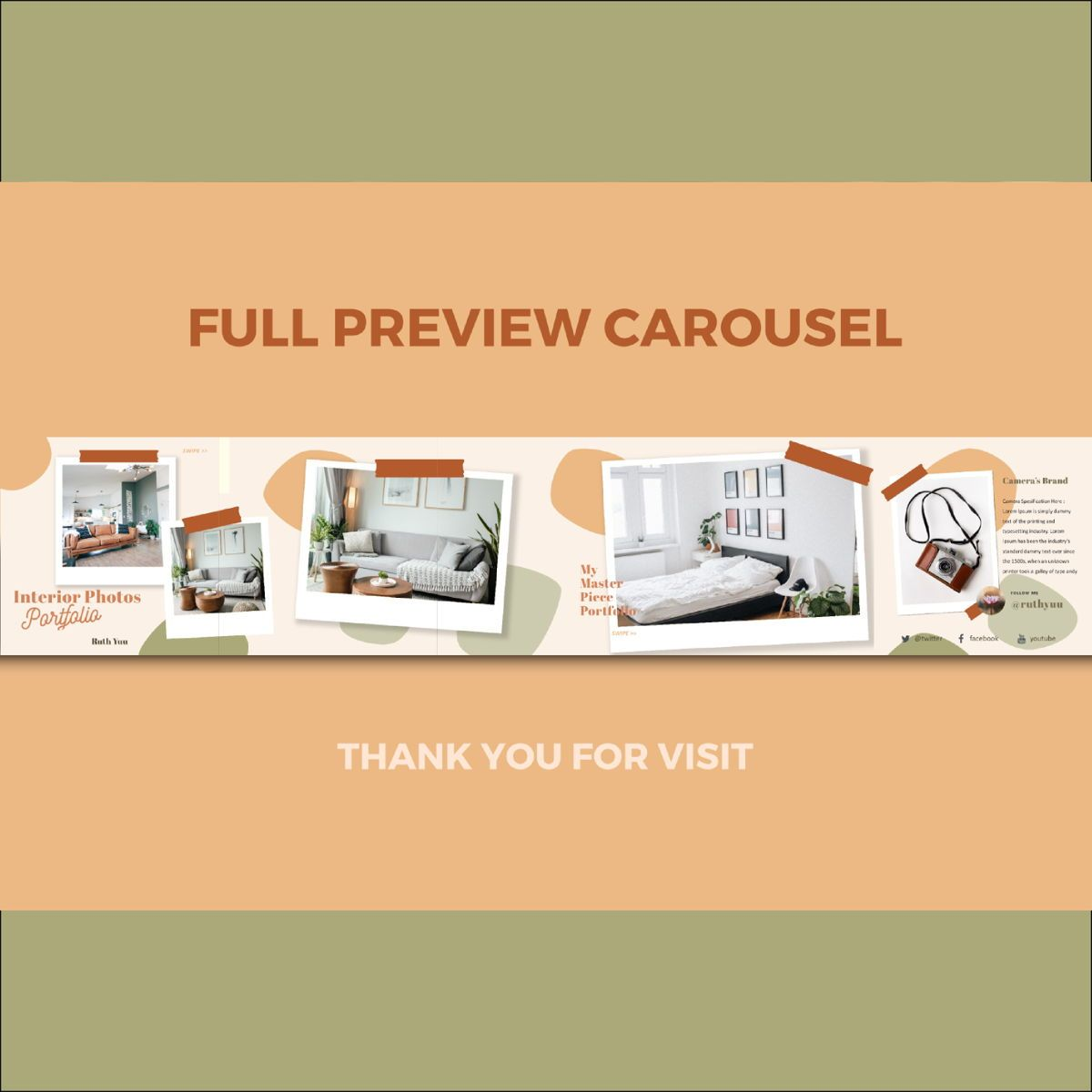 Mini online interior photography portfolio instagram carousel powerpoint template, Slide 3, 07120, Presentation Templates — PoweredTemplate.com