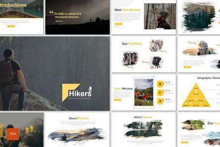 Presentation Templates: Hikers - Power point Template #07133