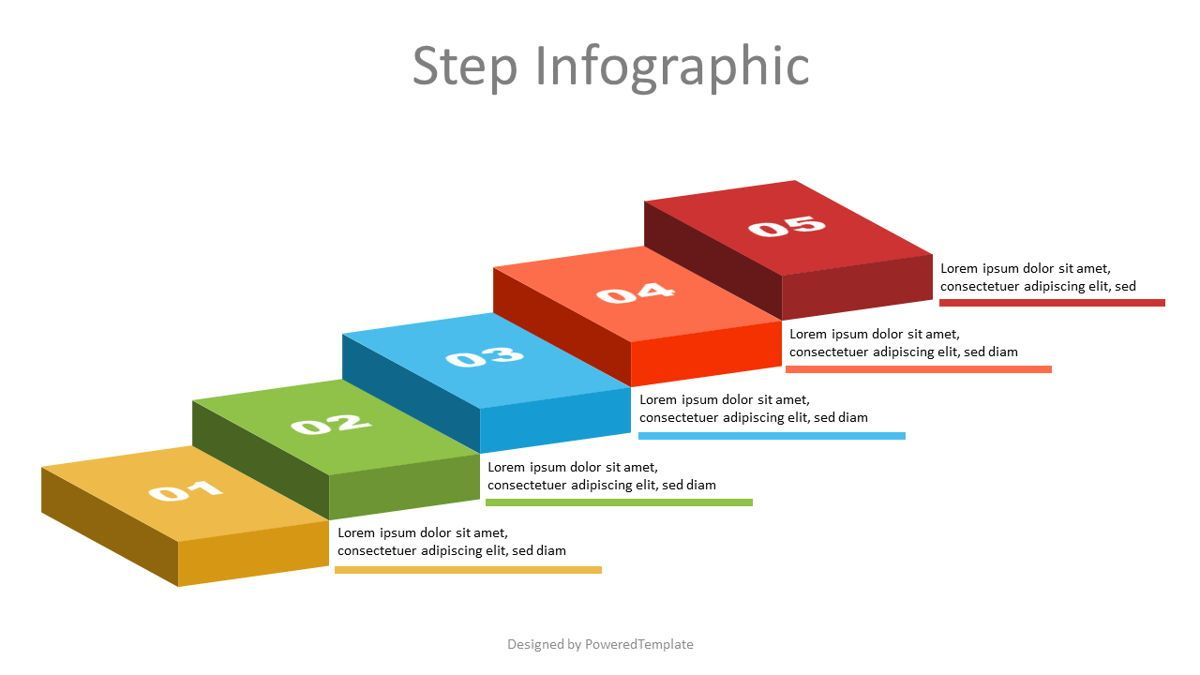 Volumetric Colorful Steps Infographic, 07137, Infographics — PoweredTemplate.com