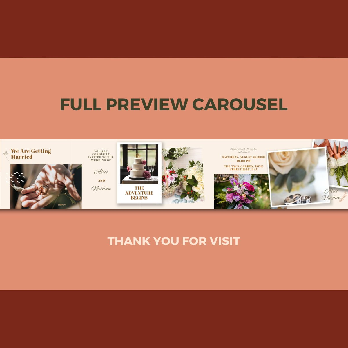 Digital wedding invitation instagram carousel powerpoint template, Slide 3, 07138, Infographics — PoweredTemplate.com