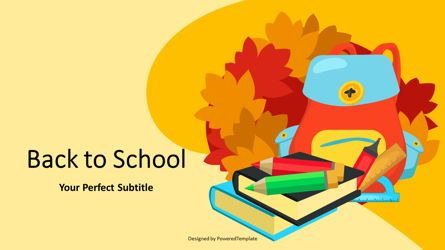 Education Charts and Diagrams: School Autumn Theme Cover Slide #07143