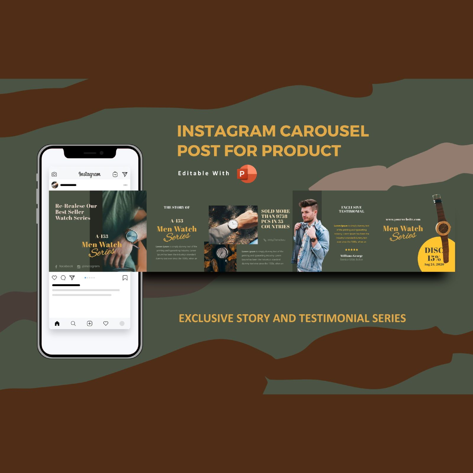 Exclusive watch men story and testimonial instagram carousel powerpoint template, 07144, Business Models — PoweredTemplate.com