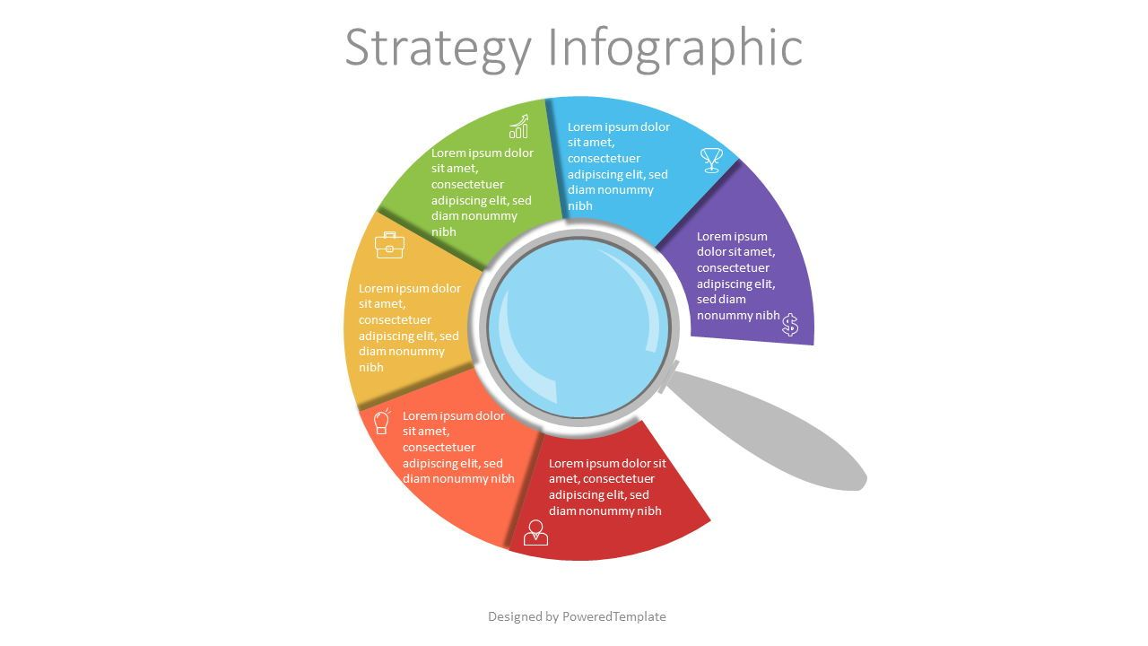 Magnifying Glass with Circular Options, 07147, Education Charts and Diagrams — PoweredTemplate.com