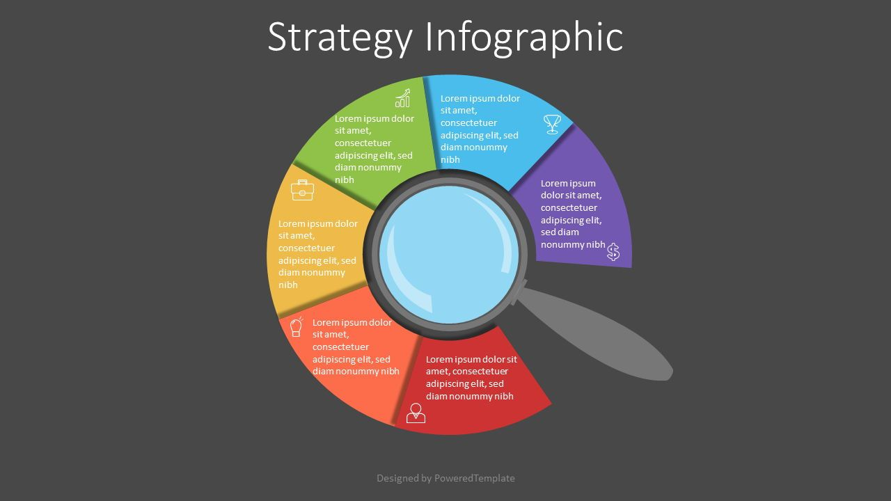 Magnifying Glass with Circular Options, Slide 2, 07147, Education Charts and Diagrams — PoweredTemplate.com