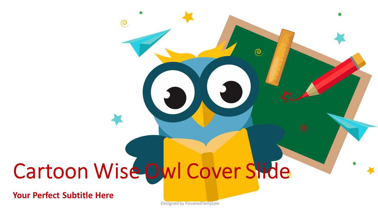 Cartoon Wise Owl Cover Slide, 07148, Education Charts and Diagrams — PoweredTemplate.com