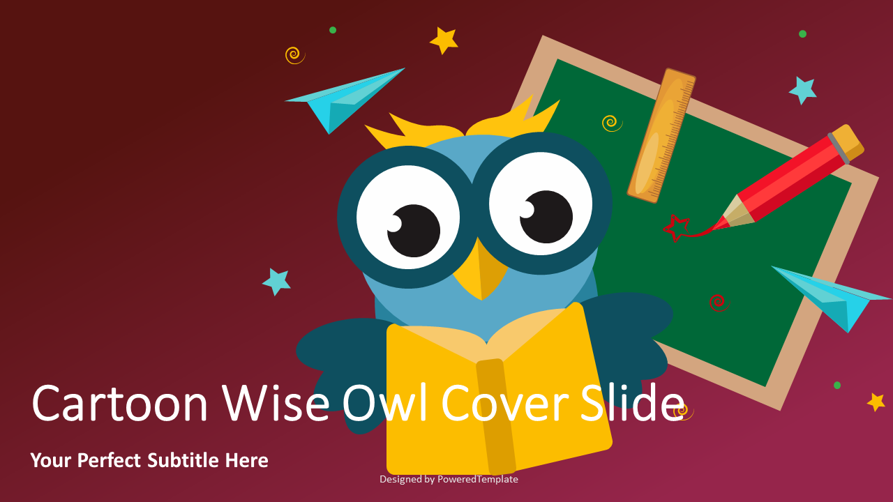 Cartoon Wise Owl Cover Slide, Slide 2, 07148, Education Charts and Diagrams — PoweredTemplate.com