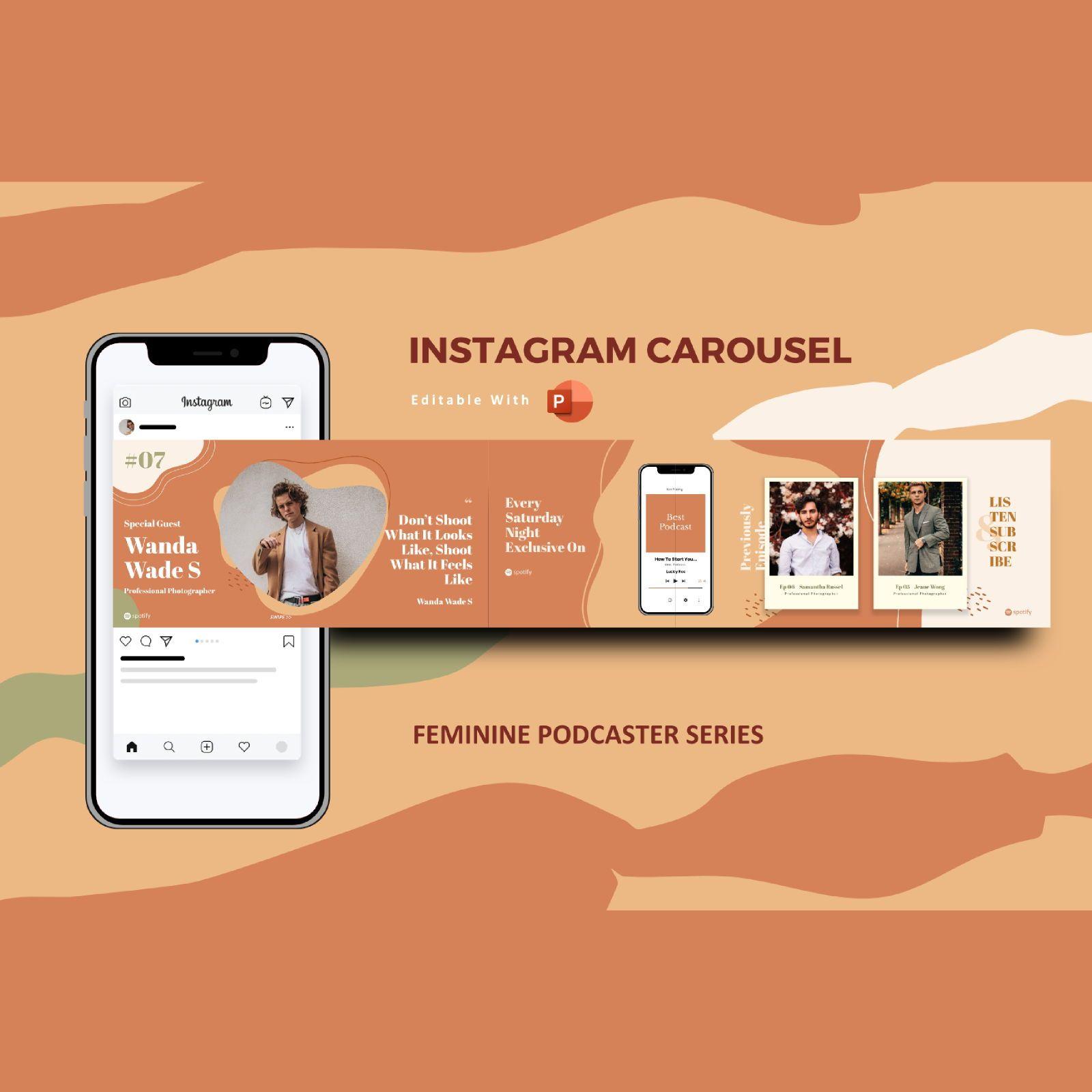 Feminine podcaster instagram carousel powerpoint template, 07149, Presentation Templates — PoweredTemplate.com