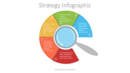 Education Charts and Diagrams: Magnifying Glass with 5 Circular Options #07154