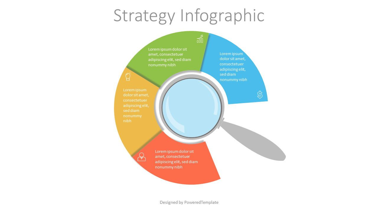 Magnifying Glass with 4 Circular Options, 07157, Education Charts and Diagrams — PoweredTemplate.com