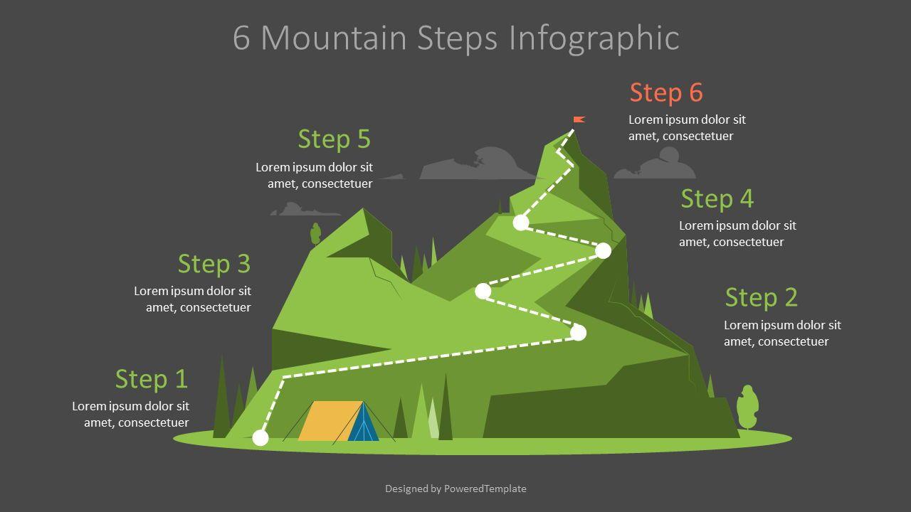 Six Mountain Steps Graphics, Slide 2, 07184, Infographics — PoweredTemplate.com