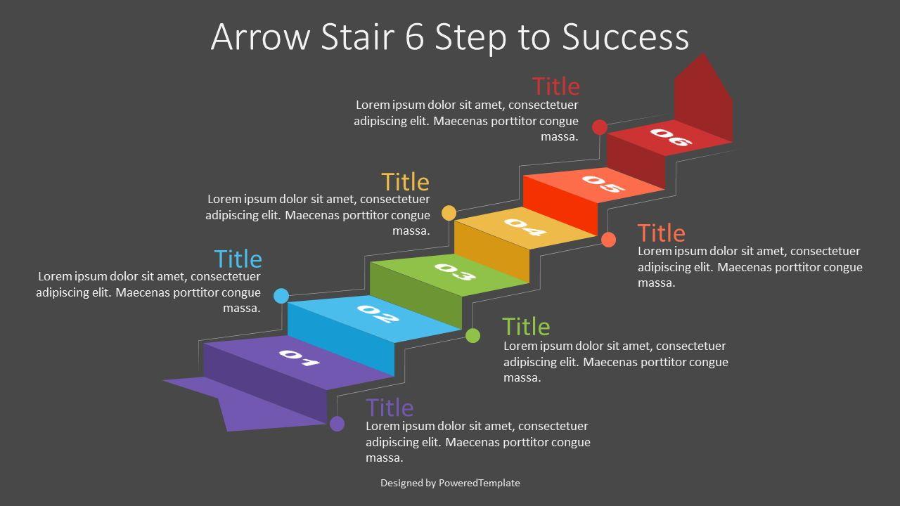 Arrow Stair 6 Step to Success Diagram, 07185, Infographics — PoweredTemplate.com
