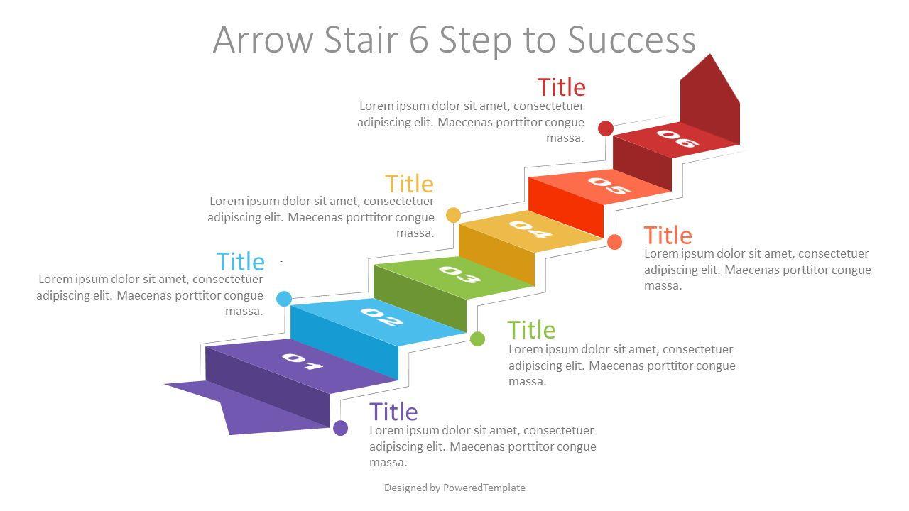 Arrow Stair 6 Step to Success Diagram, Slide 2, 07185, Infographics — PoweredTemplate.com