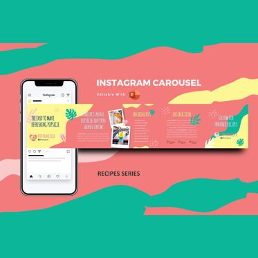 Presentation Templates: Cocktail ice recipes instagram carousel powerpoint template #07191
