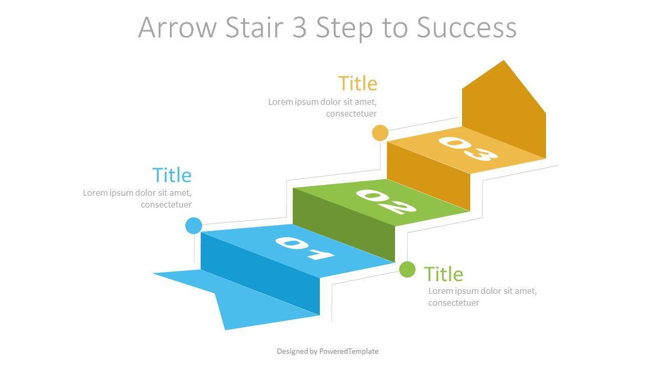Arrow Stair 3 Step to Success Diagram, 07217, Infographics — PoweredTemplate.com