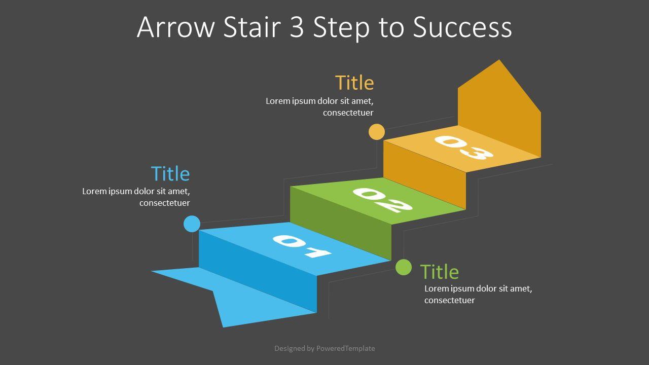 Arrow Stair 3 Step to Success Diagram, Slide 2, 07217, Infographics — PoweredTemplate.com