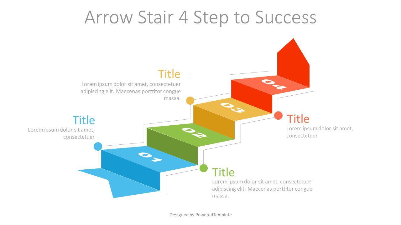 Arrow Stair 4 Step to Success Diagram, 07218, Infographics — PoweredTemplate.com