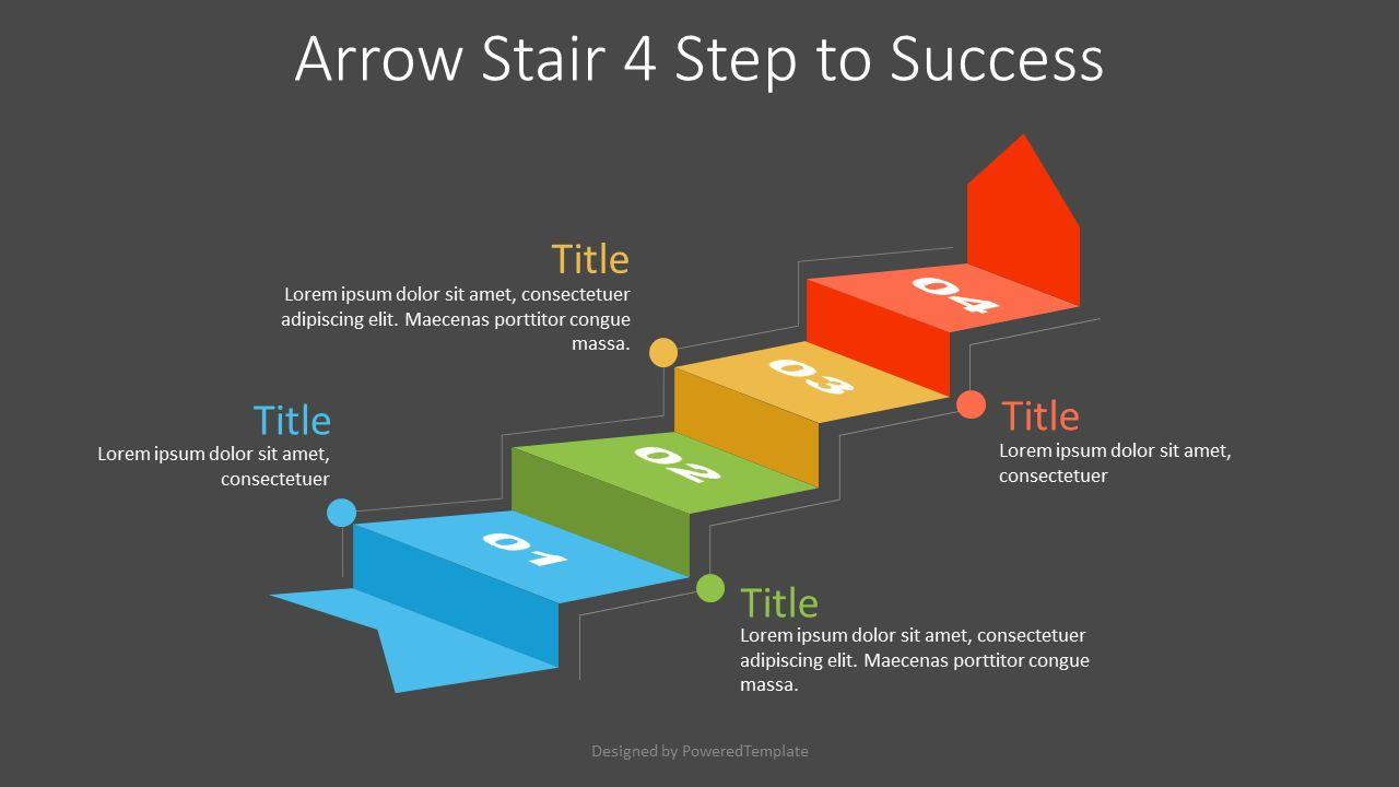 Arrow Stair 4 Step to Success Diagram, Slide 2, 07218, Infographics — PoweredTemplate.com