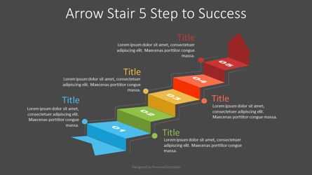 Process Diagrams: Arrow Stair 5 Step to Success Diagram #07245