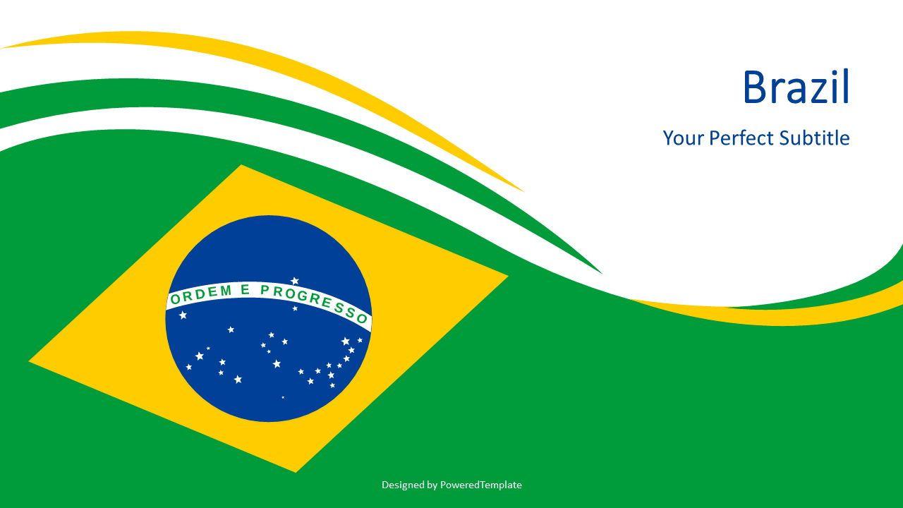 Brazil National Flag, 07264, Pie Charts — PoweredTemplate.com