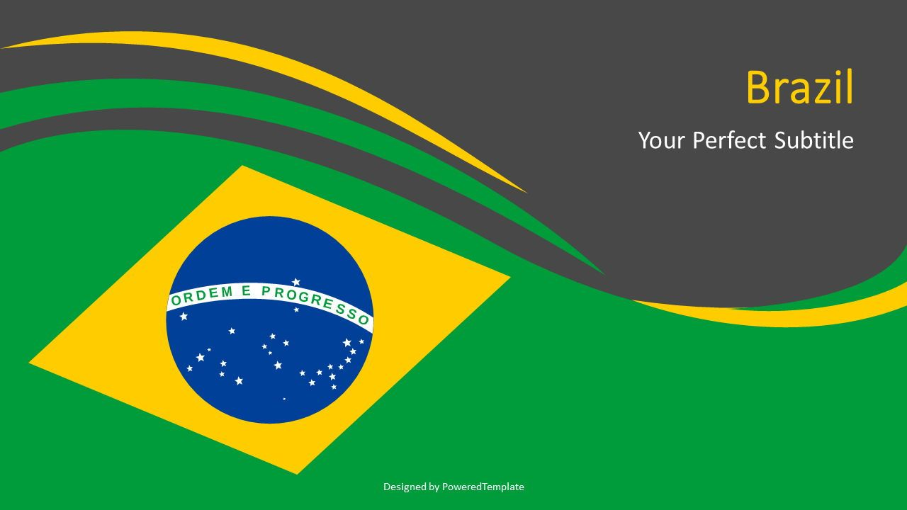 Brazil National Flag, Slide 2, 07264, Pie Charts — PoweredTemplate.com